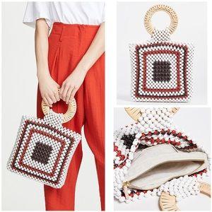 Ulla Johnson Keya Mini Tote Woven Wooden Bead Bag